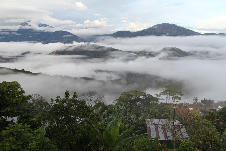 Sunrise over the town of Madrigal, in the Department of Narino, Colombia.